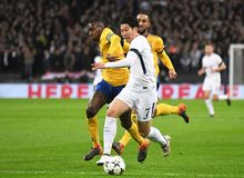 Blaise Matuidi and Heung-Min Son. Players pictured during the UEFA Champions League Round of 16 game between Tottenham Hotspur and Juventus Torino held on March Royalty Free Stock Photos