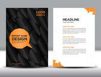 Blak Cover Annual report template brochure flyer polygon backgro Stock Photos