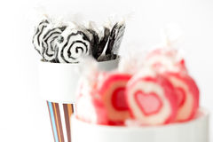 Blak and pink lollipops Stock Image