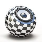 Blak and white spher speaker. 3D vector illustration
