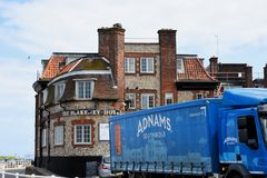 Blakeney Hotel and Delivery Lorry, Blakeney Quay, Norfolk, England Stock Images