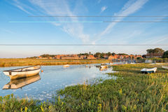 Blakeney in Norfolk. Boats on the creek at Blakeney on the north coast of Norfolk royalty free stock photography