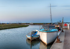 Blakeney Quay. Boats moored at the quay at Blakeney on the Norfolk coast royalty free stock photography