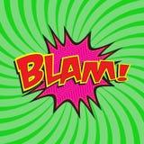 BLAM! komiska formuleringar Arkivfoto
