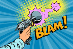 Blam Science fiction shot of a Blaster comic cloud. Vintage comics pop art retro color illustration Stock Image