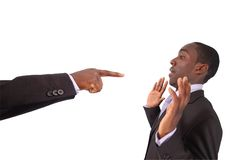 Blame that Guy!!!. This is an image of a hand pointing at a businessman. This image can used to represent blame themes, accusation etc Stock Photos