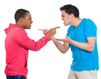 Blame, guys pointing at each other Stock Photography