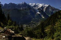 blanc法国mont全景 库存照片