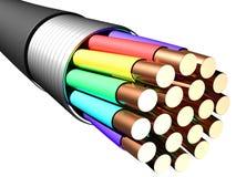 blanc électrique de câble de fond Plan rapproché Images stock