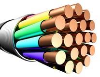 blanc électrique de câble de fond Plan rapproché Image stock