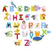 blanc animal de vecteur de fonds d'image d'alphabet Photos stock
