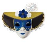 Blanc carnaval vénitien bleu de plume d'or de masque Image stock