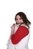 blanc d'adolescent de gilet de chemise rouge de fille photo libre de droits