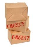 Blanc d'againt de trois boîtes en carton Image stock