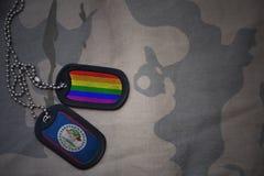 blanc d'armée, étiquette de chien avec le drapeau de Belize et le drapeau gai d'arc-en-ciel sur le fond kaki de texture Image libre de droits