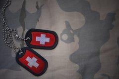 Blanc d'armée, étiquette de chien avec le drapeau de la Suisse sur le fond kaki de texture photo stock