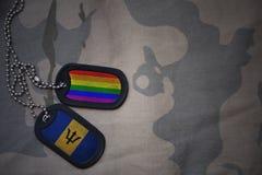 blanc d'armée, étiquette de chien avec le drapeau des Barbade et le drapeau gai d'arc-en-ciel sur le fond kaki de texture Photos libres de droits