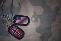blanc d'armée, étiquette de chien avec le drapeau des Etats-Unis d'Amérique et la Norvège sur le fond kaki de texture Images stock