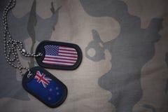 blanc d'armée, étiquette de chien avec le drapeau des Etats-Unis d'Amérique et la Nouvelle Zélande sur le fond kaki de texture Photo stock