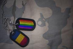 blanc d'armée, étiquette de chien avec le drapeau du confetti et le drapeau gai d'arc-en-ciel sur le fond kaki de texture Photos stock