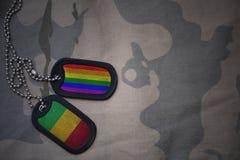 blanc d'armée, étiquette de chien avec le drapeau du Mali et le drapeau gai d'arc-en-ciel sur le fond kaki de texture Image stock