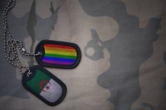 blanc d'armée, étiquette de chien avec le drapeau de l'Algérie et le drapeau gai d'arc-en-ciel sur le fond kaki de texture Photo libre de droits