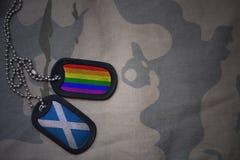 blanc d'armée, étiquette de chien avec le drapeau de l'Ecosse et le drapeau gai d'arc-en-ciel sur le fond kaki de texture Images libres de droits