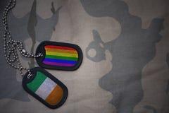 blanc d'armée, étiquette de chien avec le drapeau de l'Irlande et le drapeau gai d'arc-en-ciel sur le fond kaki de texture Image stock