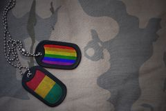 blanc d'armée, étiquette de chien avec le drapeau de la Guinée et le drapeau gai d'arc-en-ciel sur le fond kaki de texture Photo stock