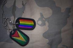 blanc d'armée, étiquette de chien avec le drapeau de la Guyane et le drapeau gai d'arc-en-ciel sur le fond kaki de texture Image stock