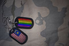 blanc d'armée, étiquette de chien avec le drapeau de la Malaisie et le drapeau gai d'arc-en-ciel sur le fond kaki de texture Image libre de droits