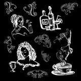 Blanc d'ensemble sur le noir avec l'illustration de cocktails et de filles croquis illustration de vecteur