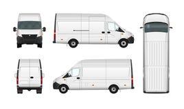Blanc d'illustration de van vector de cargaison sur le blanc Minibus de message publicitaire de ville Photo libre de droits