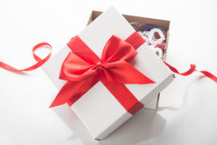 blanc d'image de cadeau du cadre 3d Photo libre de droits
