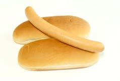 blanc d'isolement chaud de saucisse de crabot de pain Image libre de droits