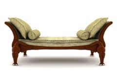blanc d'isolement classique beige de sofa de fond Photographie stock libre de droits
