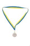 blanc d'isolement d'argent de médailles Photo stock