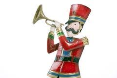 Blanc d'isolement de joueur de trompette de soldat de jouet photos stock