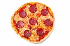 blanc d'isolement de salami de pizza Photos libres de droits