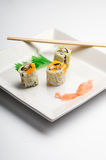 blanc d'isolement de sushi de grand dos de plaque Image libre de droits