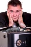 blanc d'isolement de technicien-réparateur PL in FR has S on both words de PC Images libres de droits