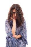 blanc d'isolement ethnique de dame de robe rétro Photo stock
