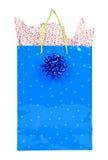 blanc d'isolement par cadeau de Noël de sac Images stock