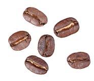 blanc d'isolement par café d'haricots Photos libres de droits