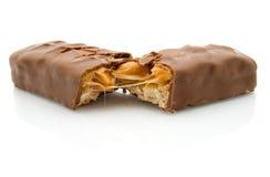 blanc d'isolement par chocolat de caramel de bar Photographie stock libre de droits