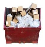 Blanc d'isolement par décharge de bidon d'ordures de camelote de détritus Photographie stock libre de droits