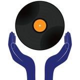 Blanc d'isolement par disque de disque vinyle de prise de mains Sauvez-, achetez-, appréciez-, jouez-le vecteur de conception Photos libres de droits