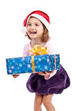 Blanc d'isolement par enfant Excited de Santa Image stock