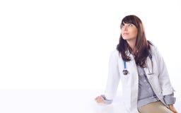 blanc d'isolement par femelle de docteur Images stock
