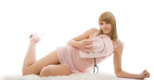 blanc d'isolement par fille mignonne photographie stock libre de droits